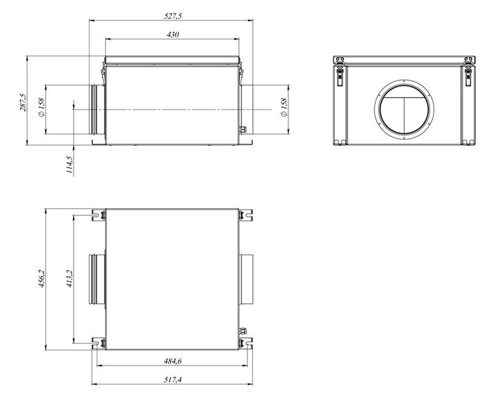 Габаритные размеры Блок вытяжной BW-700