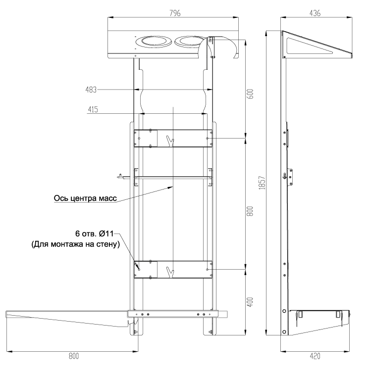 Монтажная вертикальная рама для ПВУ-500