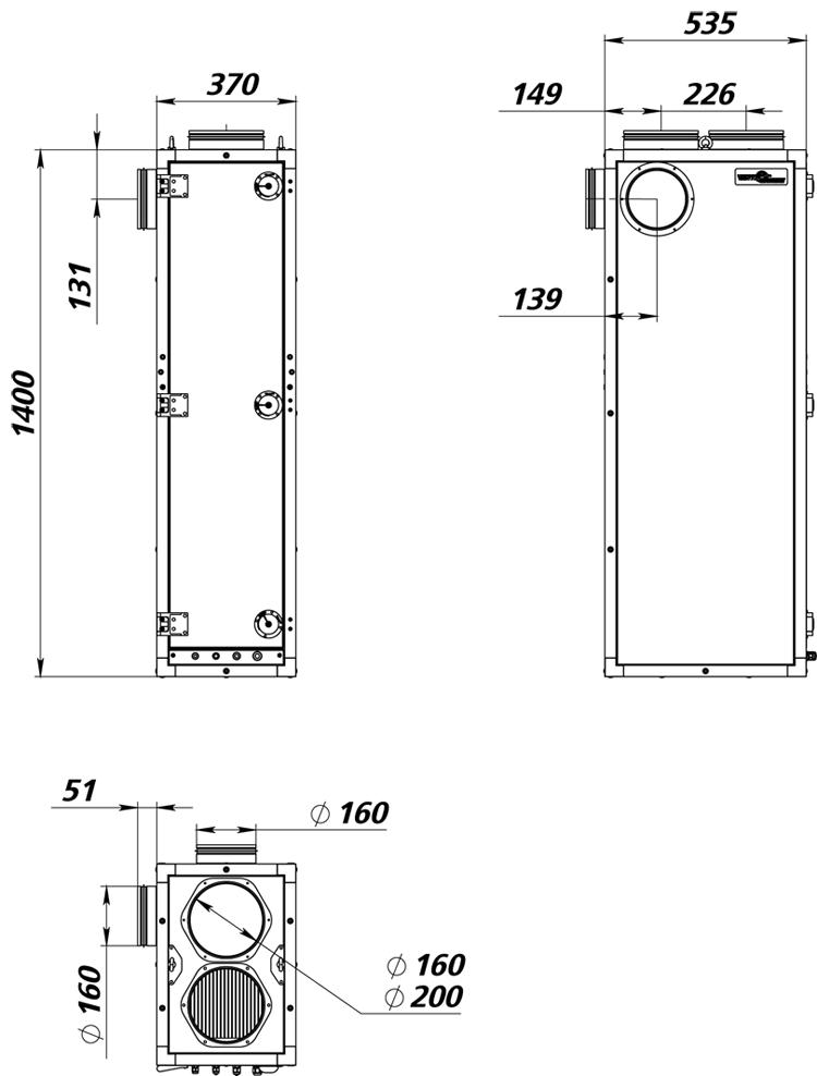 Габаритные размеры ПВУ-500