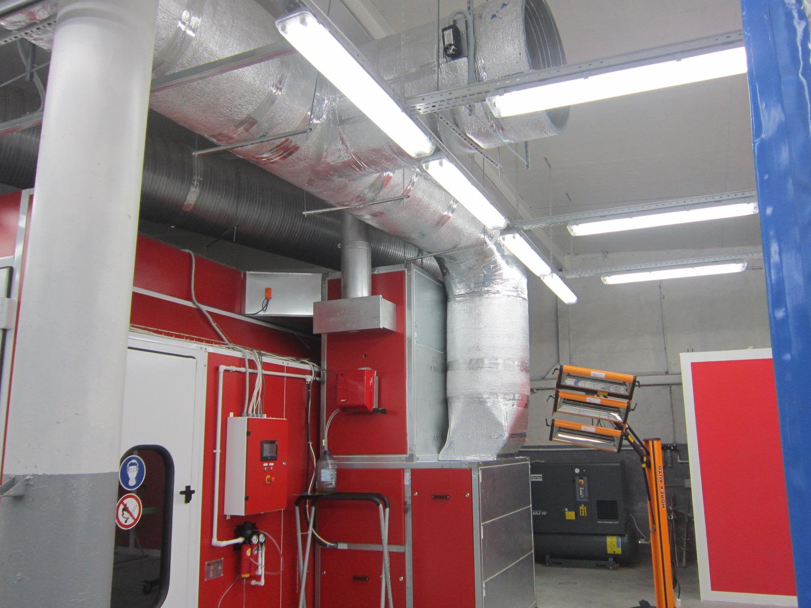 Воздуховоды в покрасочно-сушильной камере