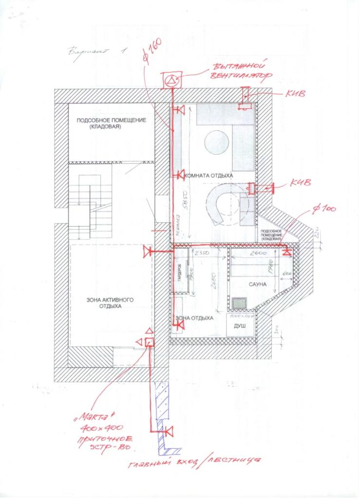 План вентиляции бассейна