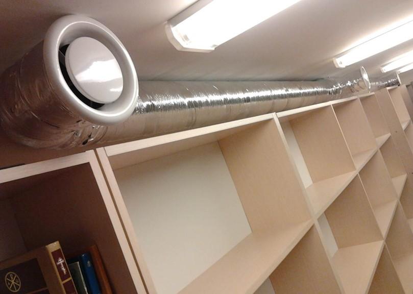 Разводка воздуховодов в читальном зале