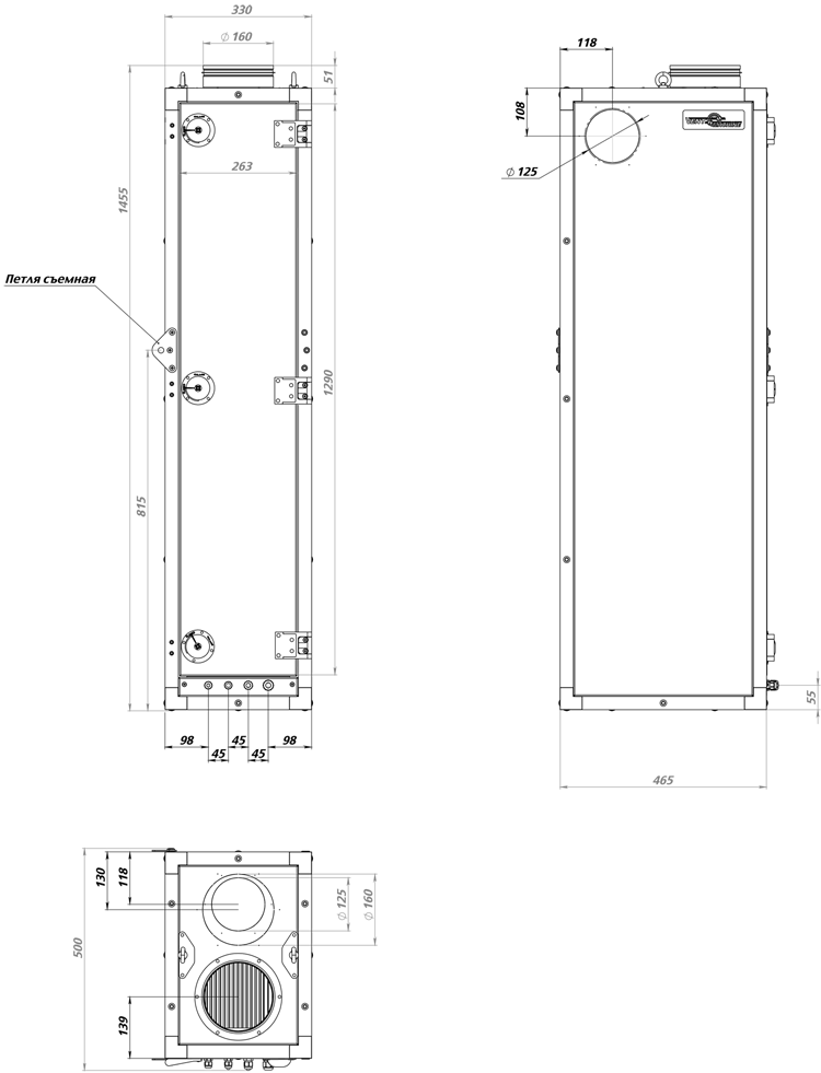 Габаритные размеры вентиляционной установки ПВУ-350